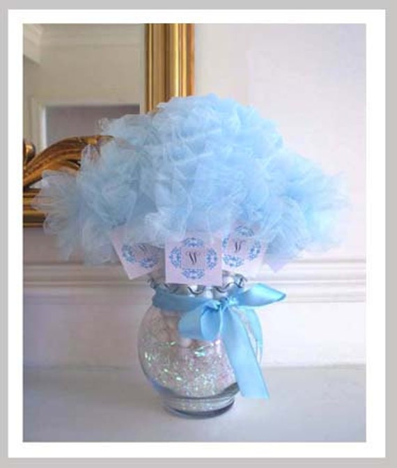 """Items Similar To Tulle Beauty Centerpieces With 5"""" Lt Blue"""
