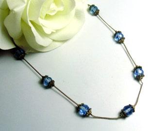 Vintage Premier Design Silver Tone & Blue Crystal Necklace ~ FREE SHIPPING