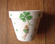 Hand Painted and Decoupaged Decorative Flower Pots, Planters, St Patricks Day, St Paddy's Day, Made in Ireland