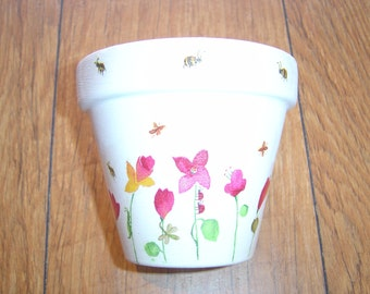Hand Painted and Decoupaged Decorative Flower Pots ( Spring Flowers 1 )