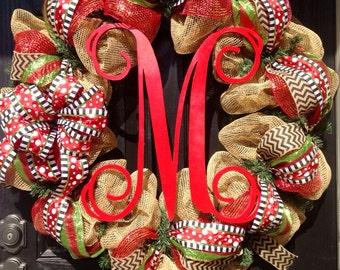 LARGE Burlap Christmas Wreath // Red // Lime Green // Black // Chevrons // Monogram wreath