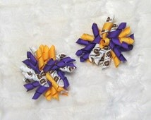 Korker Football Spirit Hair Bow Set - Cute Set of 2 Gold an Purple Korker Bows with Football Korker Ribbon - Great Cheer Bow