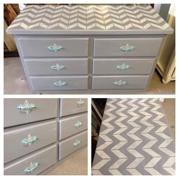 Chevron Gray Dresser With Teal Hardware Custom Painted