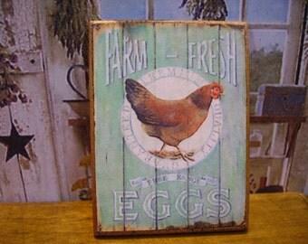 Farm Fresh Miniature Wooden Plaque 1:12 scale