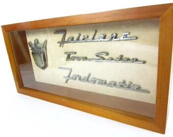Car memorabilia, ford fairlane,fordomatic, shadow box picture,framed car art,