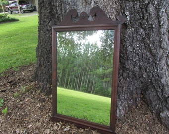 Vintage Large Mirror, Wood Mirror, Mirror, Chippendale Design