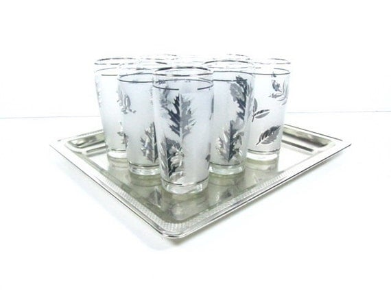 BAR WARE, mad men ,Highball glass, drinking glass, cocktail glass,silver glass,juice glass,silver leaf,