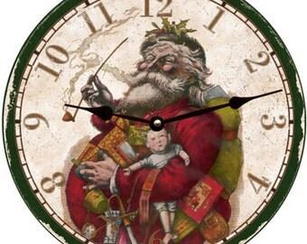 Christmas Clock- Old Fashion Santa Christmas Wall Clock