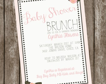 Simple Blush Colored Roses Baby Shower Brunch Invitation