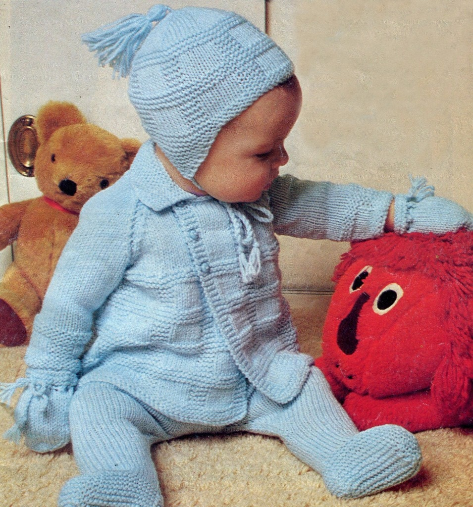 b1227d7a7a6a Instant 0 to 12 Months (2 sizes) Knitting Pattern 4 Piece PRAM SET ...