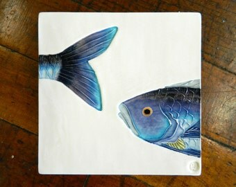 blue fish art tile handmade ceramic tile