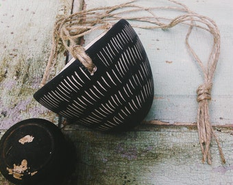Hanging Planter with Dash Design - Black & White Earthenware Hanging Pot w/ Sgraffito Design - Succulent, Cactus, Herb, or Air Plant Pot
