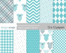 baby boy digital paper pack scrapbook baby boy clothes shower commercial use - blue clothes aqua grey digital paper - INSTANT DOWNLOAD