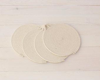 Set of 4 White Cotton Sash Cord Trays