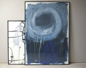 Light In The Night - XXL Original - Large Abstract Acrylic Painting on Paper - Dark Blue - Black - White - 27.5 x 39.4 inch