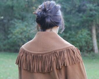 Vintage Western Wool Fringed Coat // S/M