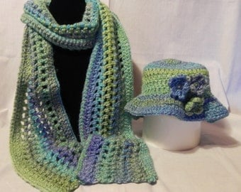 Teal and Green Varigated Crochet Scarf  and Hat