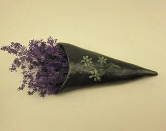 Black ceramic wall flower vase