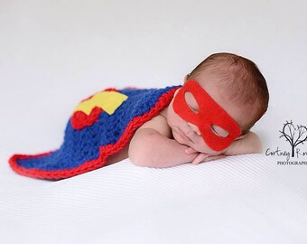 Newborn super hero set - photography prop - superhero cape and mask - crochet photo prop