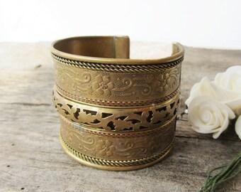 Vintage cuff bracelet,Brass bracelet,Vintage jewelry,Filigree bracelet,Rust and patina,Vintage fashion,Cottage chic,Antique bracelet