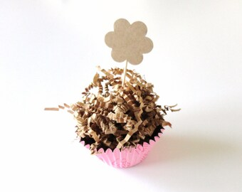 25 Kraft Paper Flower Cupcake Toppers