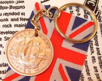 1964 Ha'penny Old Half Penny English Coin Keyring Key Chain Fob Queen Elizabeth II
