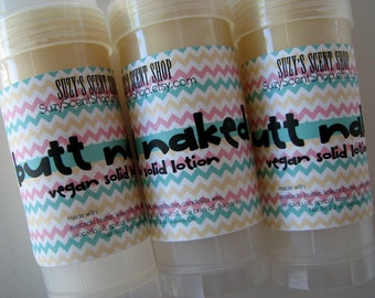Butt Naked Solid Lotion Bar  - Tropical Scent - Bath and Body - Solid Perfume - Foot balm - Natural Skin Care - Vegan - Solid lotion stick