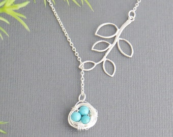 Bird Nest Necklace, Bird Nest Pendant, Lariat, Holiday Gift, Christmas Gift, Mothers Necklace, Grandmothers Necklace, Nest Necklace