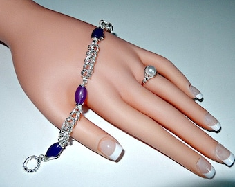 Genuine amethyst bracelet, chainmaille bracelet, box-chain, silver and purple, womens bracelet, toggle and bar bracelet, great for gifts