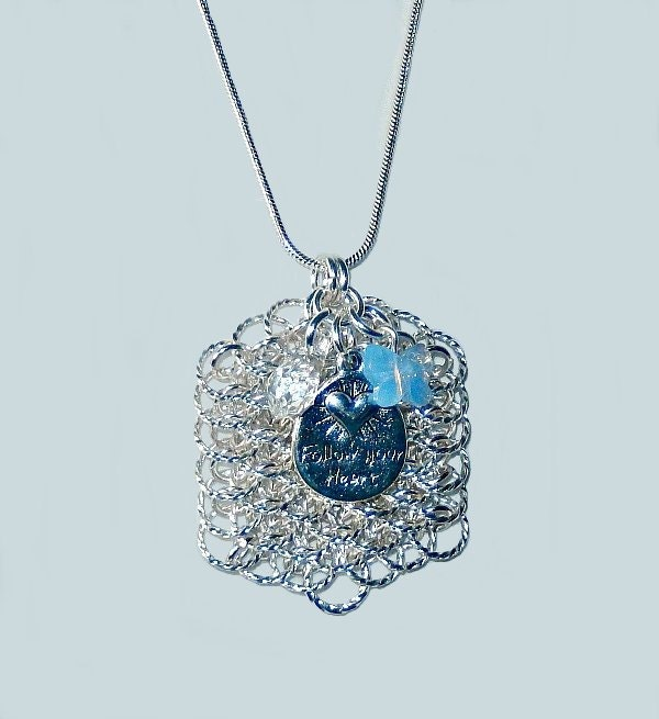 Dragon scale tag pendant with Swarovski crystal elements and
