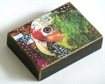 Miniature Parrot ACEO wood block, Green Parrot aceo portrait, Rustic wood parrot art, Hand Finished print, original miniature parrot  ACEO