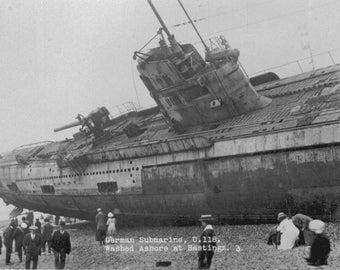 German U-Boat Submarine- 1919 - Washed ashore in France U118 Photo Print