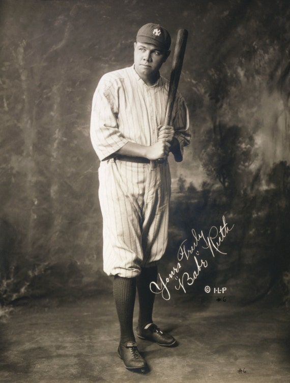 Reproduction Photograph/Picture/Photo Print: Signed Autographed Baseball Legend Babe Ruth in New York Yankees uniform