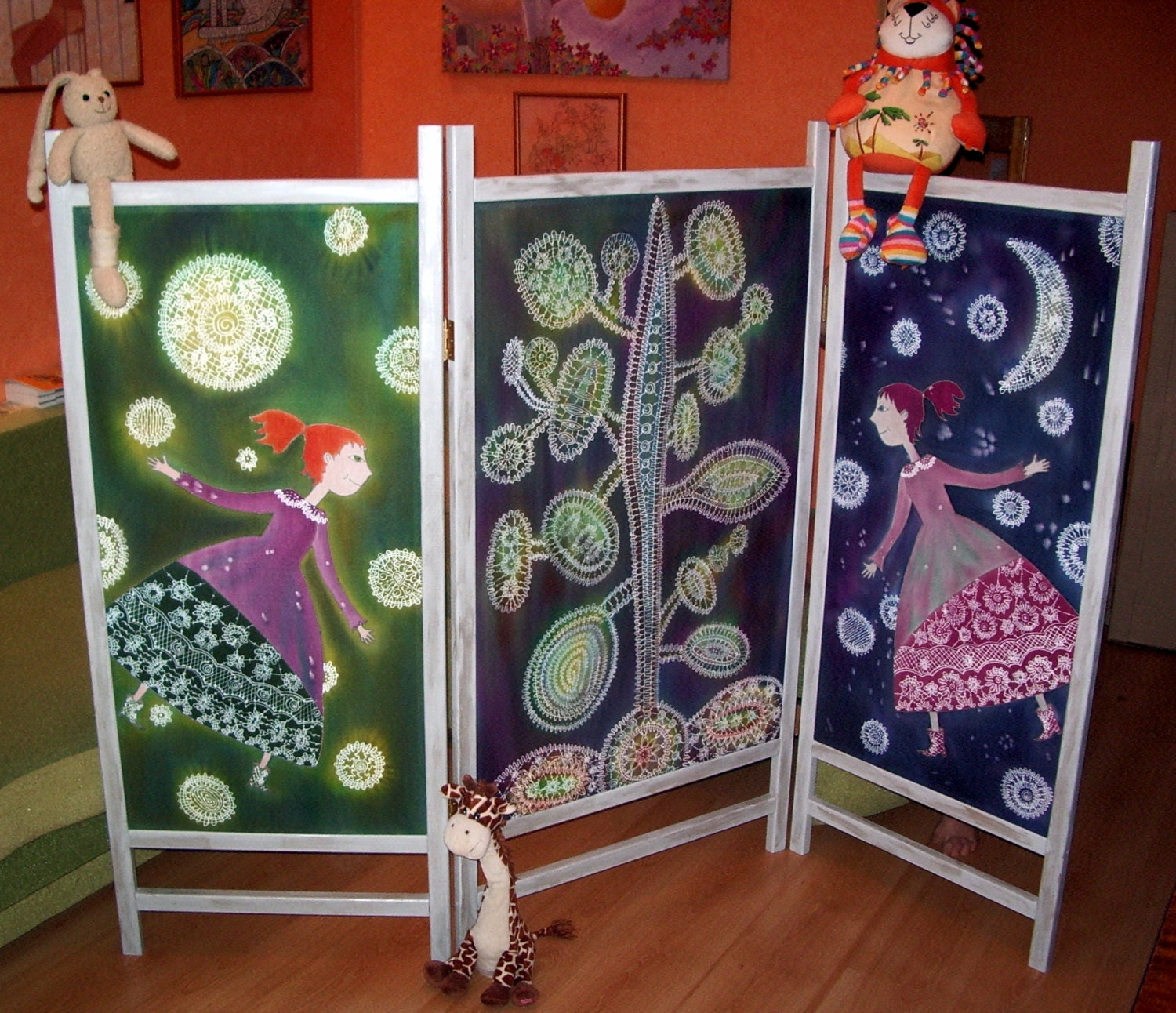 Room Dividers For Kids Bedrooms: Screen Room Folding Room Divider Cotton Screen Happy Girl