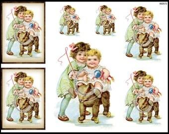 Vintage Shabby Nursery Victorian Children and Toys Waterslide Decals~ KID573