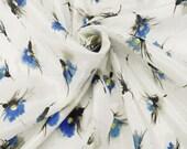 Designer fabric J. Crew silk/cotton voile watercolor flower, white, blue, 54'' wide