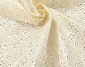 Designer Fabric 2&5/8 yards piece--Marc Jacobs cream floral laminated cotton eyelet 54'' wide