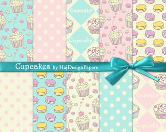 "Cupcake digital paper : ""Cupcakes"" digital cupcake paper for scrapbooking, cards, invites, decoupage / cupcake backgrounds / cupcake clipart"