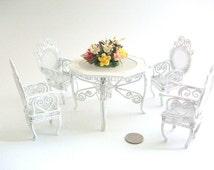 Miniature Patio Set, Dollhouse Patio Set, Miniature Furniture, Dollhouse Furniture, Metal Furniture, White Patio Set, Vintage