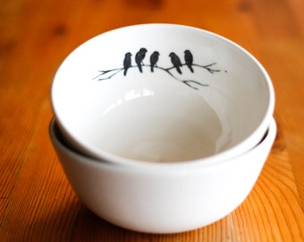 Made to Order : Porcelain Bowl, White with hand drawn Bird Design inside