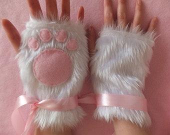 Cute White & Pink Furry Kitty Cat Paw Neko Fingerless Gloves Wrist Warmers Cosplay Halloween Costume Festival