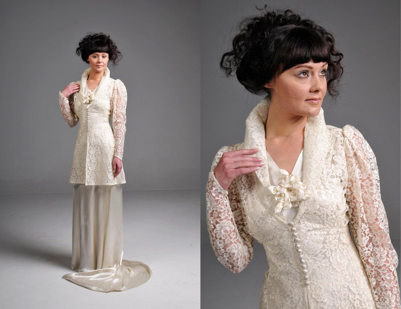 Classic Wedding Dress Satin: Vintage 20s Ivory Silk Satin Wedding Dress With Matching Lace