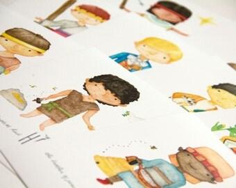 Set of 10 Little Prophets 5x7 prints-Christlike Attributes Nursery/Kids' Room Wall Decor-LDS