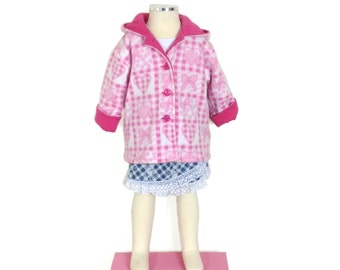 Handmade girls pink and white fleece winter jacket, hoodie coat