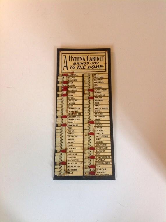 1930s hygena kitchen shopping list reminder for Hygena vintage kitchen units