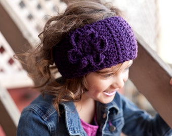 Crochet Toddler Girl's Ear Warmer With Flower And Button Closure, Ages 2+ - ANY COLOR