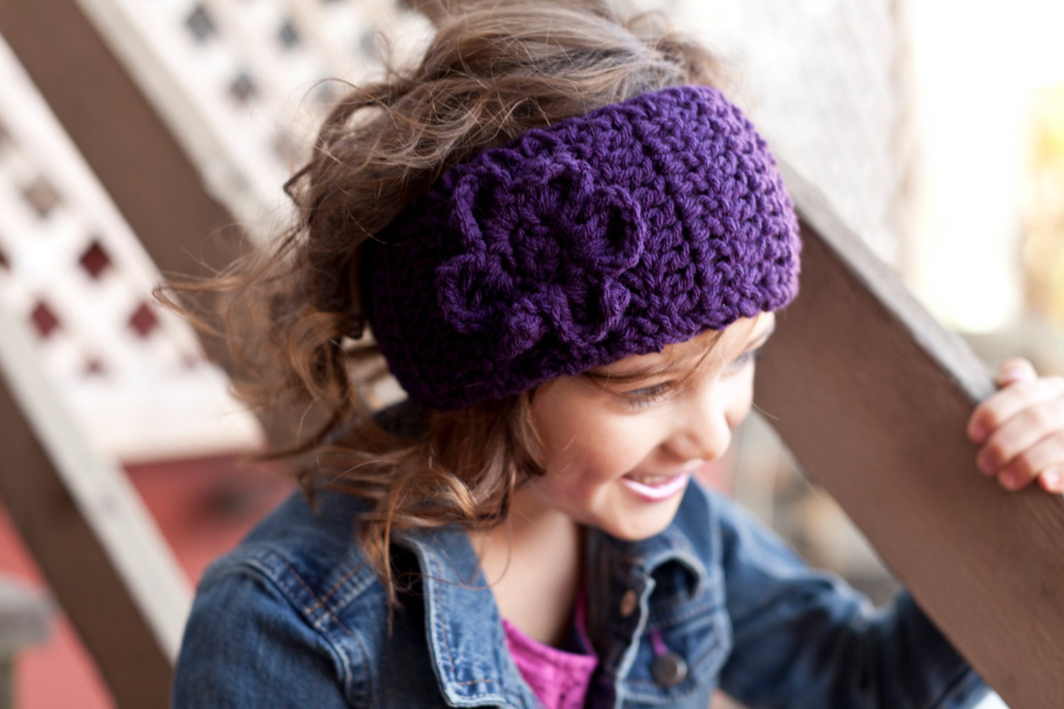 Toddler Girls Ear Warmer With Flower And Button Closure