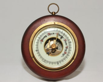 Vintage weather barometer wood and brass made in Western Germany