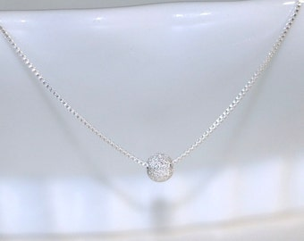 Sterling Silver Stardust Necklace, Stardust Ball on Sterling Silver Necklace Chain