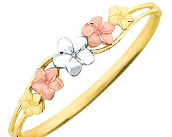 14k Tricolor Gold Plumeria Bangle, Tricolor Plumeria Bangle, 14k White Gold, 14k Yellow Gold, 14k Rose Gold, Tricolor Bangle, Plumeria
